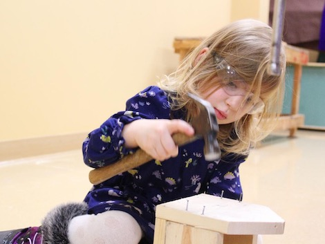 Woodworking Specialty Class Camper Applies Hammering Skills To Build A Birdhouse